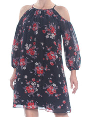Black Cold Shoulder Floral 3/4 Sleeve Knee Length Dress