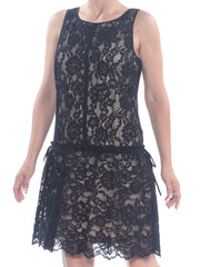 Black Lace Floral Sleeveless Jewel Neck Knee Length Party Dress