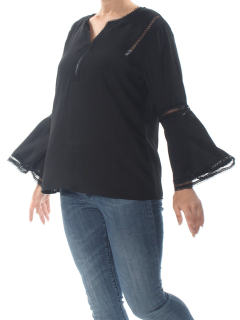 Black Eyelet Bell Sleeve V Neck Top