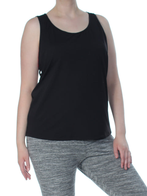 Black Strappy Back Sleeveless Scoop Neck Active Wear Top