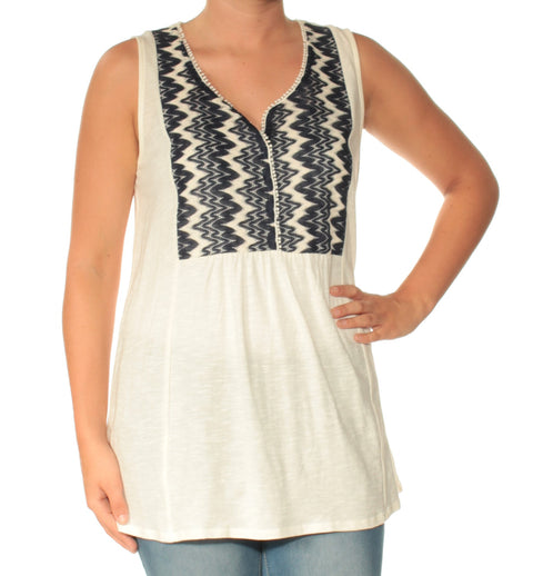 Ivory Lace Sleeveless V Neck Top