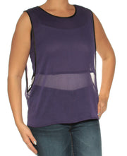 Purple Sheer Sleeveless Jewel Neck Top
