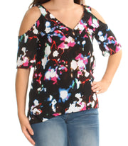Black Cold Shoulder Printed Short Sleeve V Neck Top