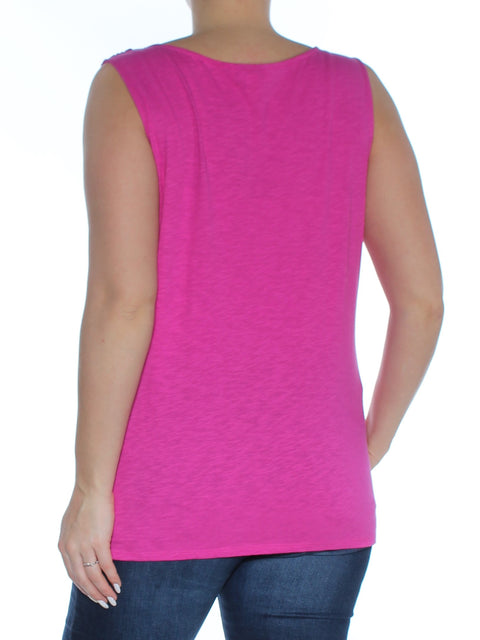 Pink Eyelet Sleeveless Jewel Neck Top