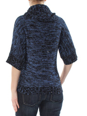 Blue Sequined Long Sleeve Cowl Neck Sweater
