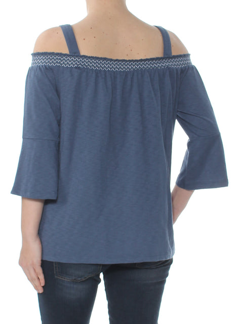 Blue Embroidered Bell Sleeve Square Neck Top