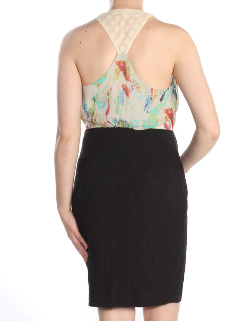 Black Water Color Sleeveless Halter Knee Length Wear To Work Dress