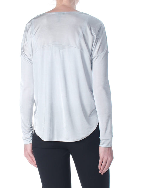Silver Pocketed Heather Long Sleeve V Neck Sweater