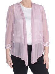 Pink Lace Trim Wear To Work Jacket