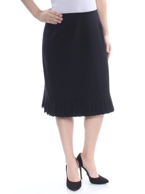 Black Pleated Knee Length A-Line Wear To Work Skirt