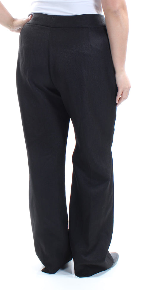 Black Textured Chevron Straight leg Wear To Work Pants