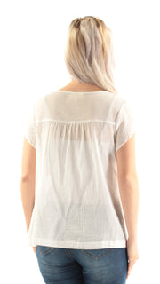 Ivory Embroidered Short Sleeve Jewel Neck Top
