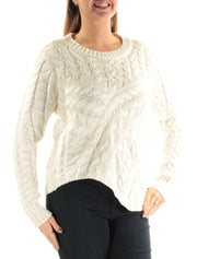 Ivory Textured Long Sleeve Jewel Neck Sweater