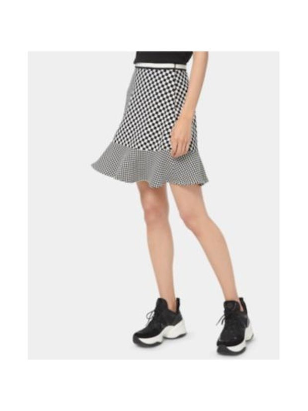 White Check Mini Ruffled Skirt