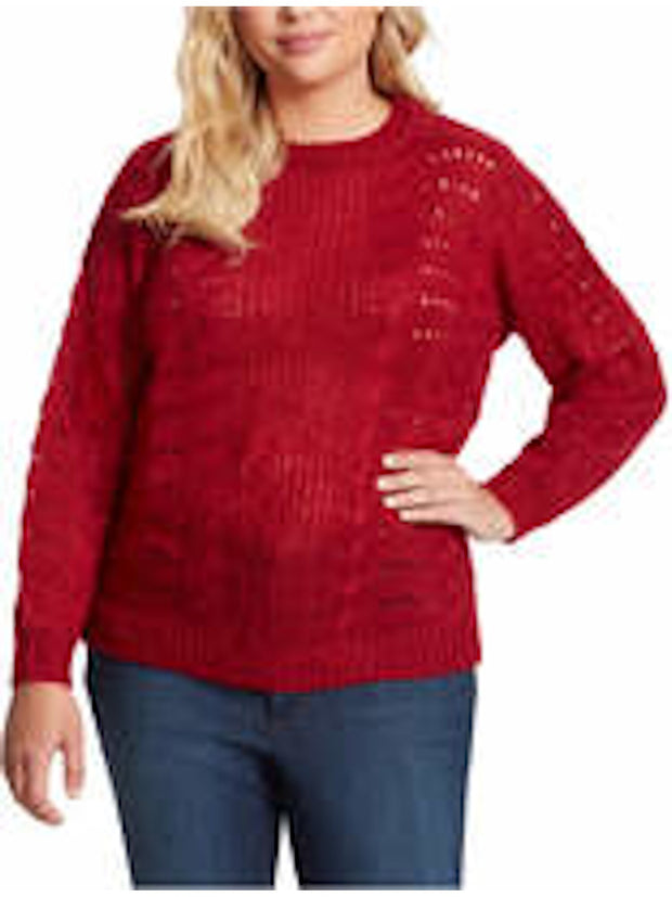 Red Patterned Long Sleeve Crew Neck Sweater