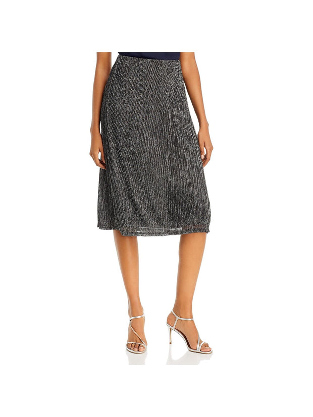 Gray Ribbed Below The Knee Pencil Evening Skirt