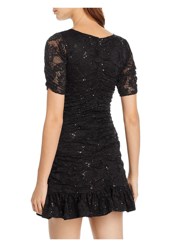 Black Ruffled Patterned Short Sleeve V Neck Mini Fit + Flare Evening Dress
