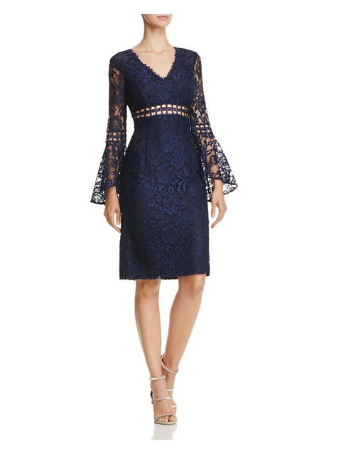Navy Lace Floral Long Sleeve V Neck Knee Length Sheath Cocktail Dress