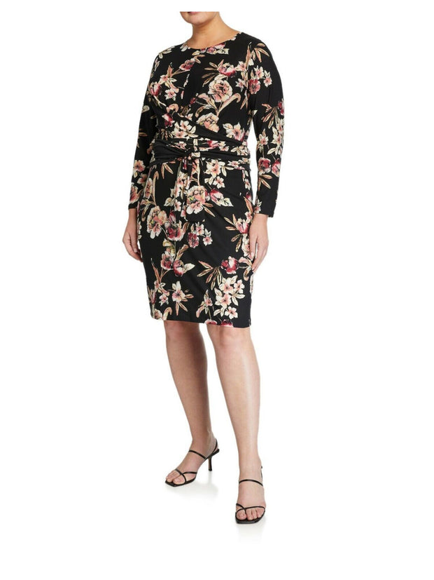 Black Floral Long Sleeve Jewel Neck Above The Knee Sheath Wear To Work Dress