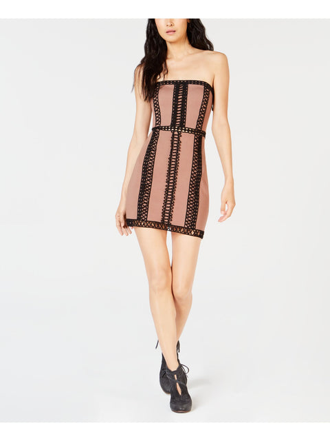 Brown Embroidered Sleeveless Strapless Mini Cocktail Dress