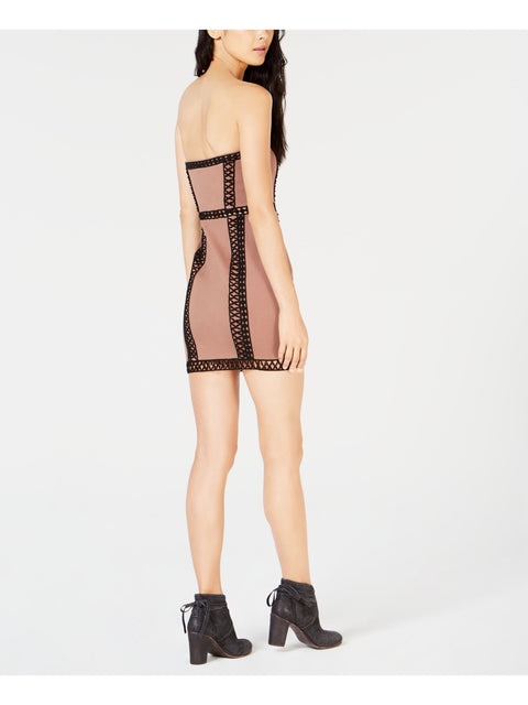 Brown Embroidered Sleeveless Strapless Mini Sheath Cocktail Dress