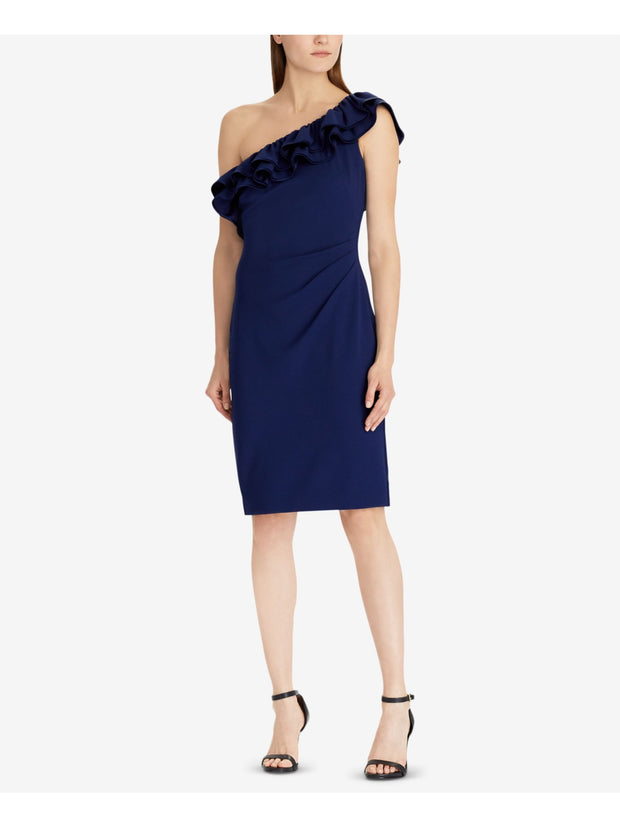 Blue Ashatona Ruffled One Shoulder Sleeveless Knee Length Cocktail Dress