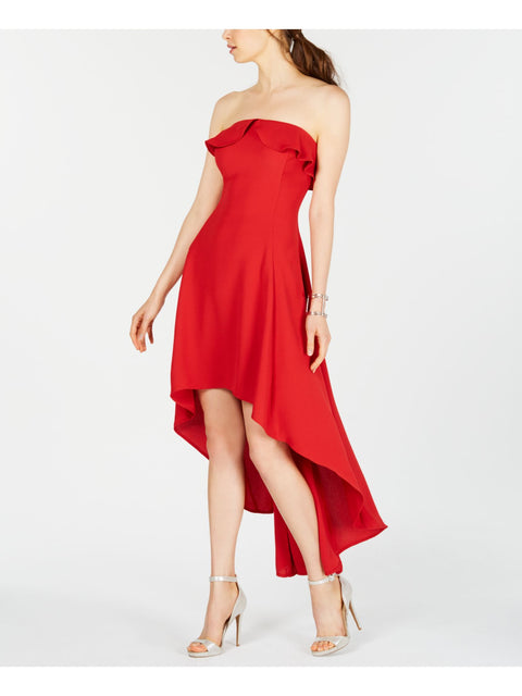 Red Sleeveless Strapless Above The Knee Hi-Lo Evening Dress