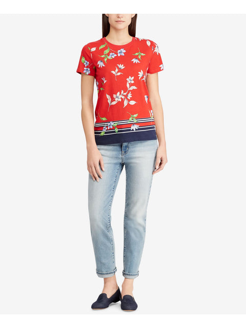 Red Multi Floral Jersey Short Sleeve Crew Neck T-Shirt