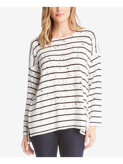 Ivory Striped Star Print Long Sleeve Jewel Neck Sweater
