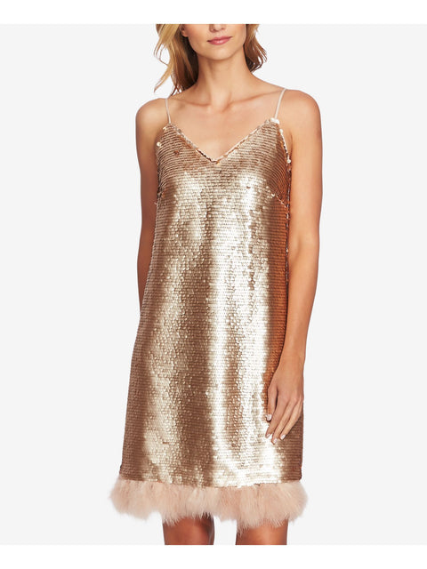 Gold Sequined Spaghetti Strap Above The Knee Shift Cocktail Dress