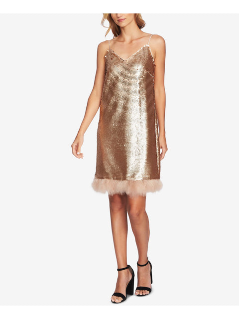 Gold Sequined Feather Trim Spaghetti Strap V Neck Above The Knee Shift Dress