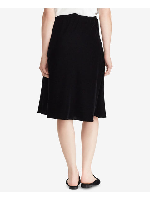 Black Velvet Below The Knee A-Line Wear To Work Skirt