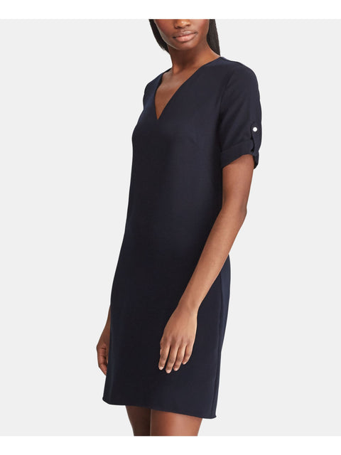 Black Button Cuffed Short Sleeve Short Sleeve Above The Knee Wear To Work Dress