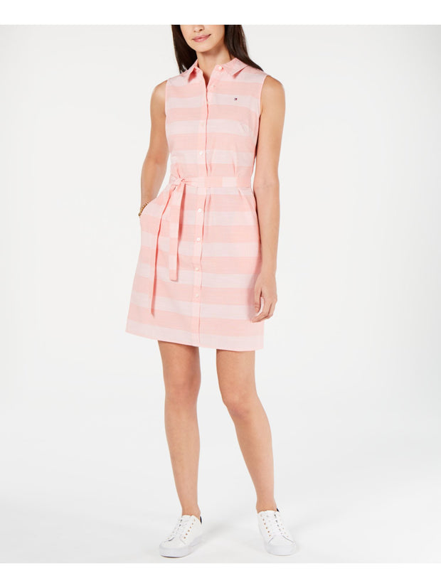 Pink Plaid Sleeveless Collared Above The Knee Shirt Dress Dress