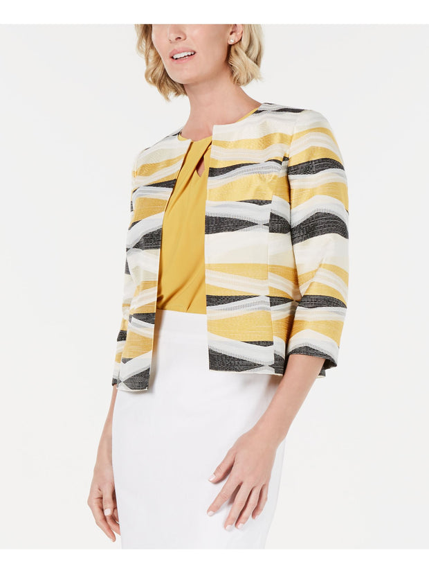Yellow Jacquard Flyaway Printed Wear To Work Jacket