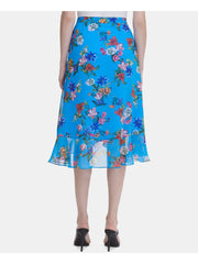 Blue Floral Midi Ruffled Wear To Work Skirt