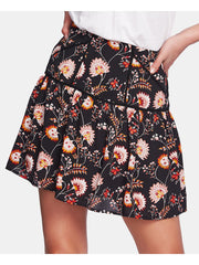 Black Floral Mini Peasant Skirt