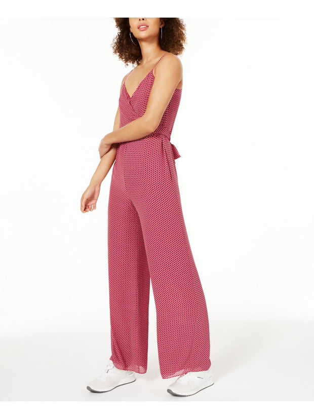 Red Printed Spaghetti Strap V Neck Wide Leg Jumpsuit