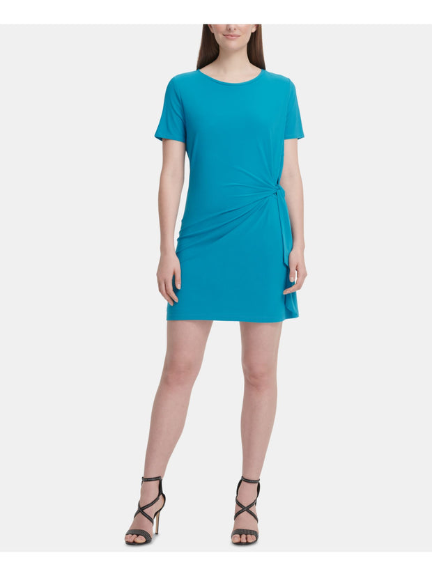 Blue Short Sleeve Jewel Neck Mini Shift Wear To Work Dress