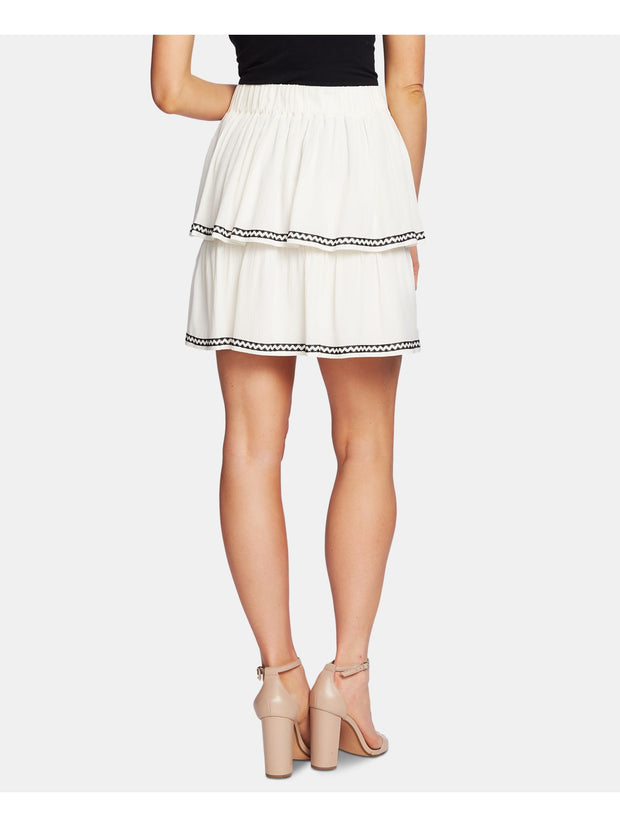 Ivory Mini Ruffled Skirt