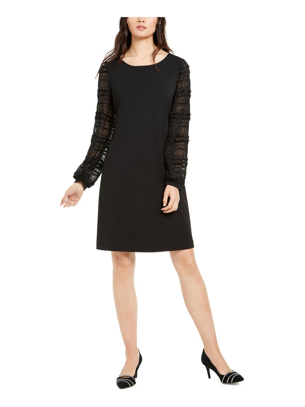 Black Long Sleeve Jewel Neck Above The Knee Shift Cocktail Dress