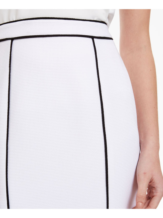 White Textured Striped Knee Length Pencil Skirt