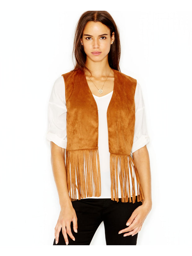 Brown Fringed Faux Suede Sleeveless Open Vest