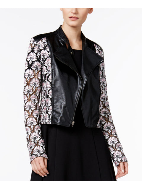 Black Lace Geometric With buttons Motorcycle Jacket