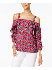 Red Cut Out  Ruffled Floral Long Sleeve Square Neck Top