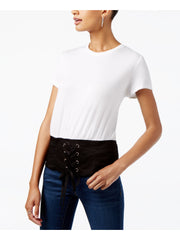 White Tie Short Sleeve Crew Neck Top