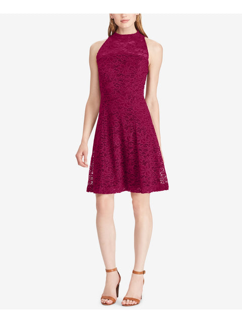 Maroon Lace Sleeveless Crew Neck Above The Knee Fit + Flare Party Dress