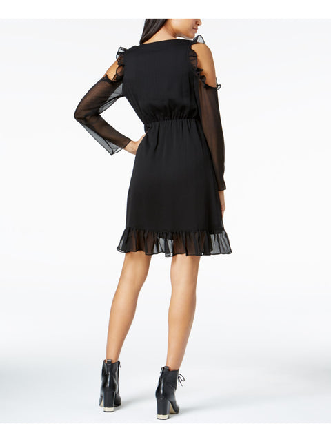 Black Ruffled Long Sleeve V Neck Above The Knee Faux Wrap Cocktail Dress