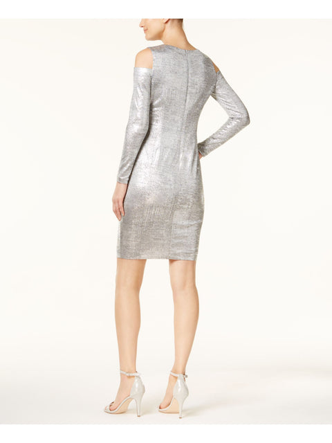 Silver Long Sleeve Jewel Neck Above The Knee Body Con Party Dress