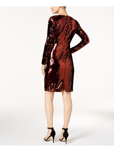 Brown Sequined Long Sleeve Scoop Neck Above The Knee Sheath Party Dress
